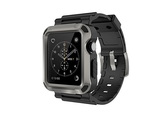 innovative design a59aa bb5d4 Apple Watch Case,[Simpeak] Rugged Protective Case with Strap Bands and  Matte Screen Protector for 42mm Apple Watch Black-Gray
