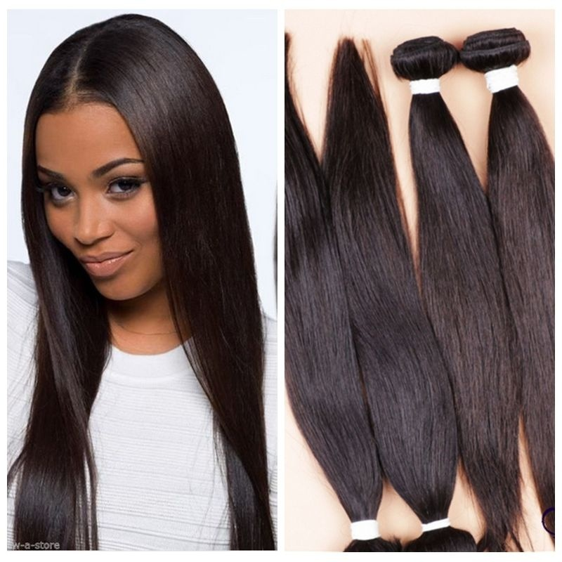 Remy 100 Brazilian Straight Human Hair Weave Extensions 8 Inch