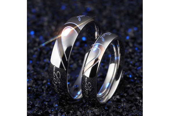 Stainless Steel Couple Ring Jewelry Wedding Rings Men Women Ring Sets Romantic Heart Jewelry Couples Ring for Lovers