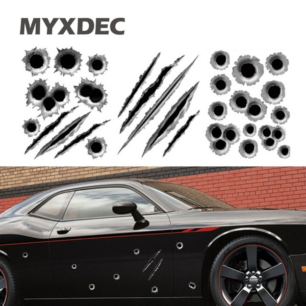 3D Bullet Holes Scratch Car Sticker Decals Waterproof Motorcycle Vehicle Decor