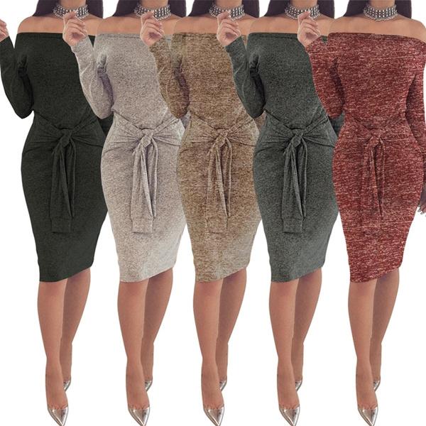b8f0c530091c New Sexy Womens Clothing Fall Dresses Off Shoulder Elegant Long ...