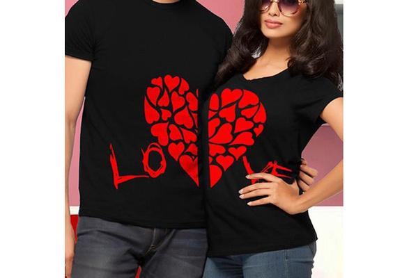 New Hot Valentine Shirts Woman Cotton LOVE Funny Letter Print Couples Leisure T-shirt Man Tshirt Short Sleeve O Neck T-shirt