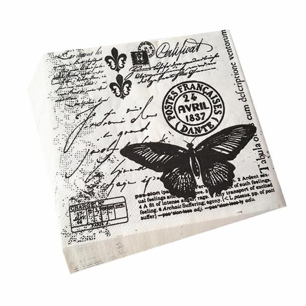 20pcs Black Butterfly Vintage Table Paper Napkins Wedding Birthday Party Decorvb