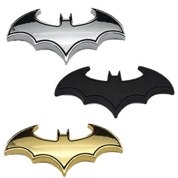 Chrome Metal Bat Auto Logo Car Sticker Batman Badge Emblem Tail Decal Decor 3D