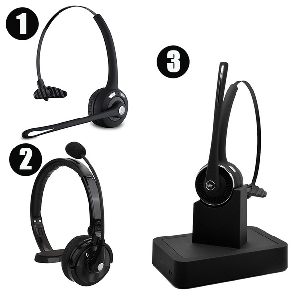 Wireless Bluetooth Headset Over The Head Multipoint Noise Cancelling Bluetooth Headphones W Microphone Charging Dock Dual Phone Hands Free Headset For Office Driving Trucker Drivers Wish
