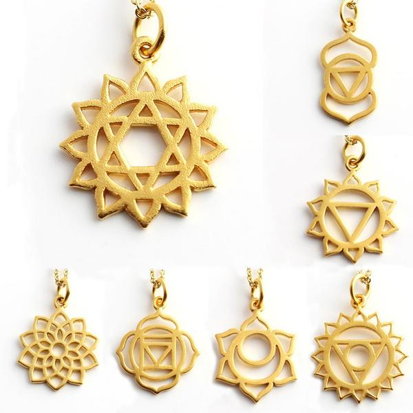 7 Chakra Necklace Yoga Spiritual India Hindu Asia Zen Yogi accessories Gold  Cherub Charm Guardian Angel Protection Minimalist Jewelry