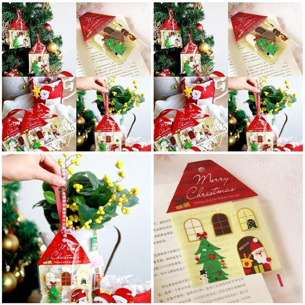 Bags 50pcs New Christmas Red House Cello Cellophane Bag Sweet Candy Biscuit Gift Bags Practical