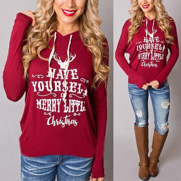 Girls Women/'s Ladies Christmas Hoodie Sweatshirt Jumper Sweater Hooded Pullover