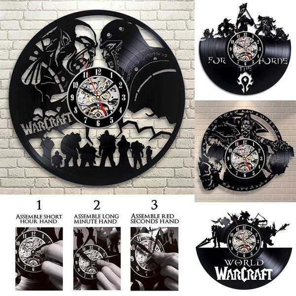Gamer Gift Wow Alliance Horde Badge Black Vinyl Record Wall Clock