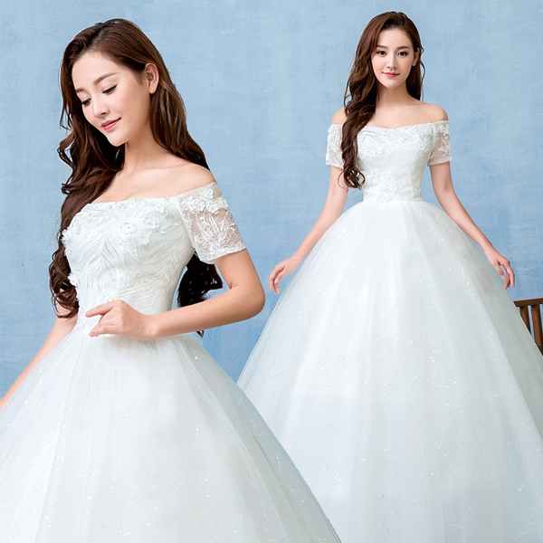 Wedding Dress 2017 New Style Summer Bride Simple Korean Word Shoulder Lace Show Thin Knot Wedding Dress