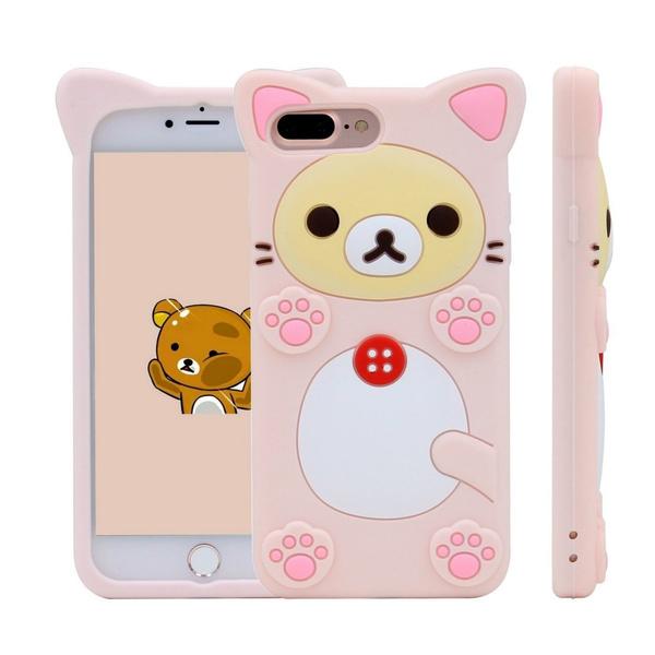 online retailer d0911 855ea Cute 3D Cartoon Rilakkuma Bear Cat Soft Silicone Phone Cover For Apple  iPhone 7 plus/7/6s plus/6 plus/6/6s/5s/5/SE And Samsung Galaxy S5/S6/S7/S7  ...
