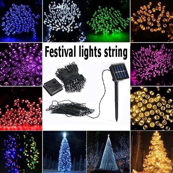 Solar 60//100//200 LED String Fairy Lights Garden Outdoor Party Tree Deco Lamp