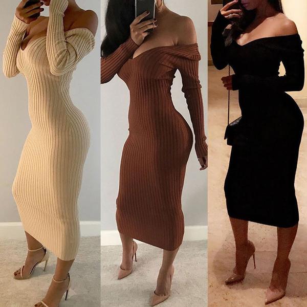 ac19a3e24d5 Women Sexy Rib-knit Off Shoulder Bodycon Maxi Dress