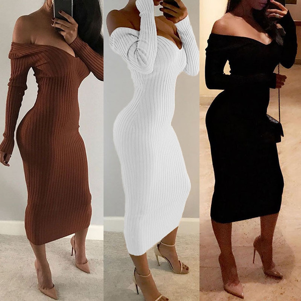Trendy Off Shoulder Long Sleeve Bodycon Dress at Factory Prices