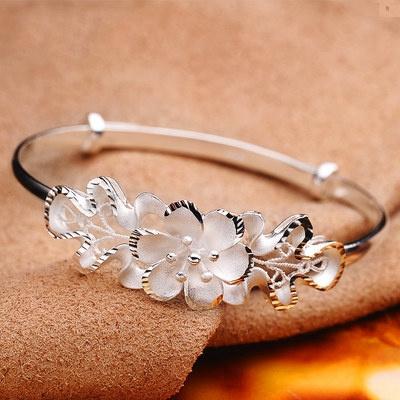 Charm Bracelet, Sterling, Flowers, 925 sterling silver