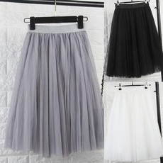 Gray, high waist, Elastic, Midi