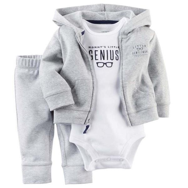 Carters Baby Boys Little Genius Bodysuit Grey 18M