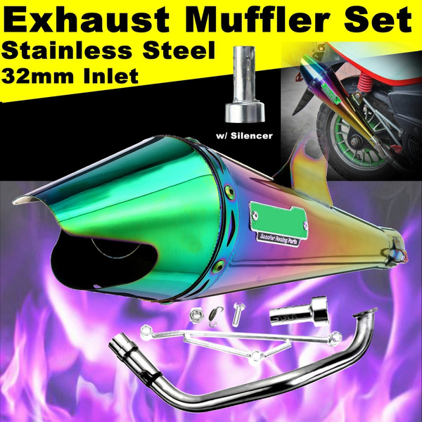 32mm Inlet 420mm Length Universal Motorcycle Exhaust Muffler Tail Pipe With  Silencer FullColors