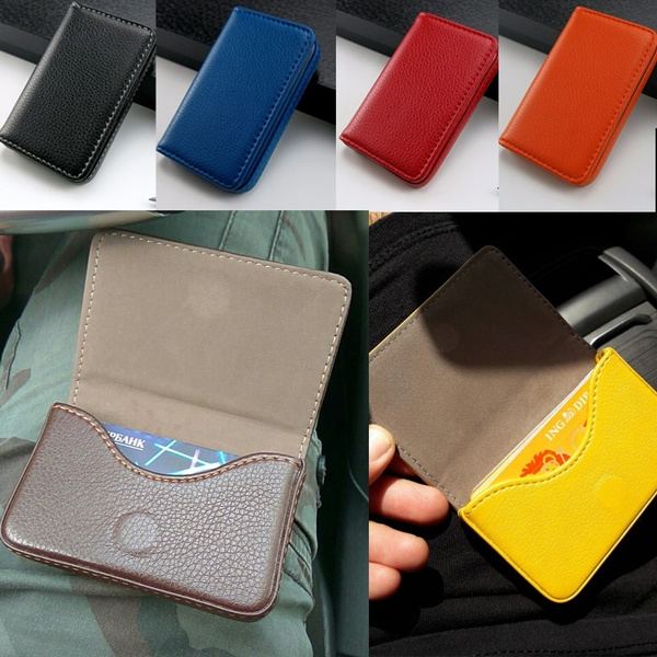 Einfarbig Pu Leder Magnetschnalle Bankkarte Box Kreditkarte Paket Visitenkartenhalter Geldbörse