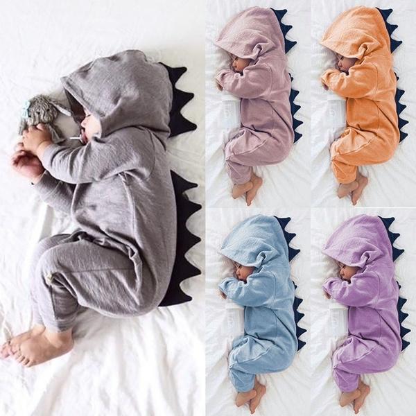 1bcda349e Newborn Infant Baby Boy Girl Dinosaur Hooded Romper Jumpsuit Outfits ...