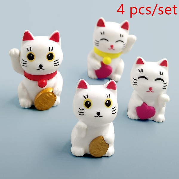 4pcs Cartoon Lucky Cats Micro Landscape Garden Decorations Miniatures Ornamentwr