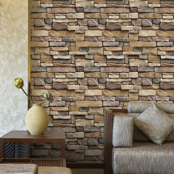3d Pvc Wall Brick Pattern Wallpaper Adhesive Vintage Wall Sticker Vinyl Roll Bar Restaurant Coffee Shop Bedroom Living Room Stone Wallpapers