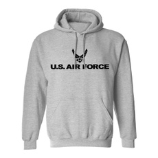 Gray, hooded, airforce, Long Sleeve