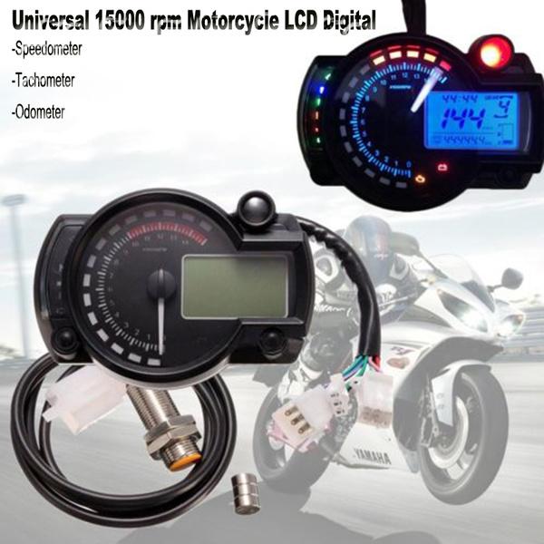 15000rpm Motorcycle Universal LCD Digital Speedometer Tachometer Odometer Gauge