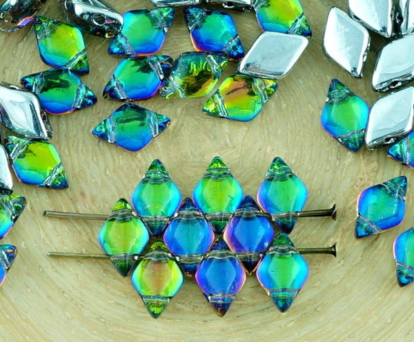 60pcs Matubo GemDuo Rhombus Diamond Two 2 Hole Czech Glass Beads Gem Duo 8mm x 5