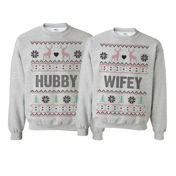 New Couples Hubby Wifey Unisex Santa Sweaters Sweatshirts Winter Wedding  Gift Family Christmas Sweatshirt