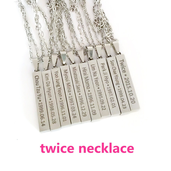 KPOP TWICE combination All members of the name birthday stainless steel  Pendant Chain Accessories For Men Women gift Jewelry