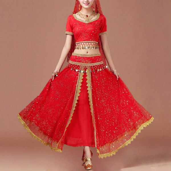 29eeaadad82b Adult Women Dance wear Belly Dance Costume Set Indian Dance Costumes  Bollywood Dresses 4pcs (Top Belt Skirt Veil) | Wish