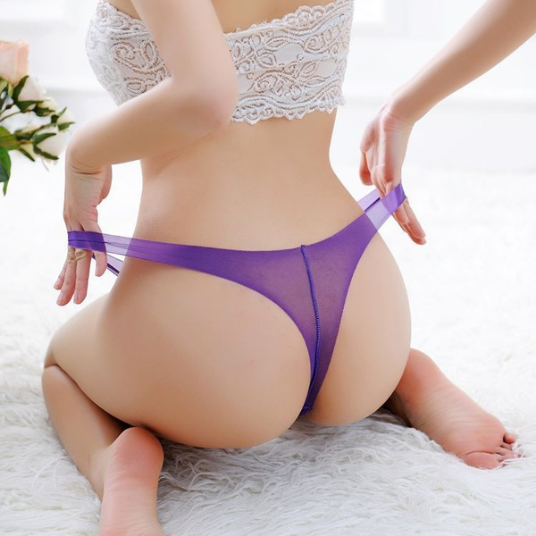 00784eef8822 Thin Transparent Trace Thongs Seamless One-piece Panties Perspective ...