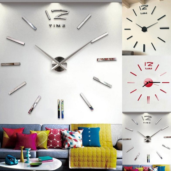 Modern DIY Large Wall Clock Mirror Surface Sticker Home Decor Art Design Use New