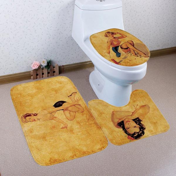 . 3pcs set Marilyn Monroe Print Bathroom Non Slip Floor Mat Pedestal Rug    Toilet Seats Cover Pad   Bath Mat