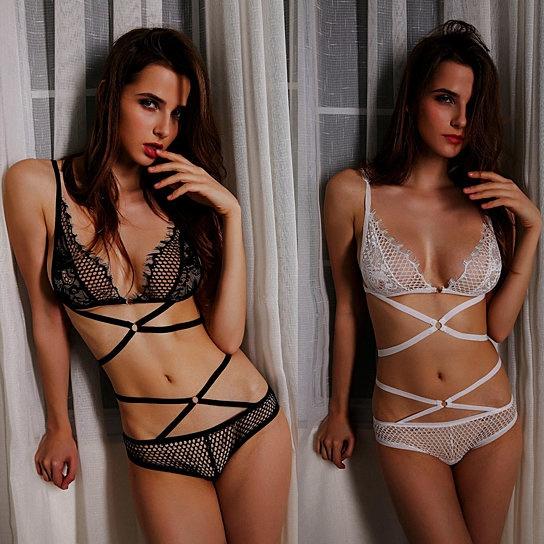 ef3dc15dcb54 Women's Sexy Lace Elastic Strappy Hollow Bandage Bras Panties Underwear Set  | Wish