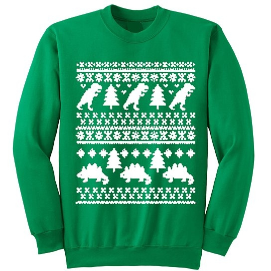 wish ym wear adult dinosaurs and t rex christmas sweater ugly christmas sweater crewneck - Dinosaur Christmas Sweater