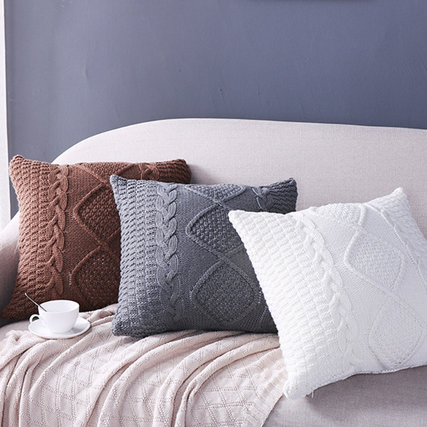 Terrific Fashion Cotton Cable Knit Pillow Cushion Double Side Knitted Throw Pillow Cover For Counch Bed Car Decoration Theyellowbook Wood Chair Design Ideas Theyellowbookinfo
