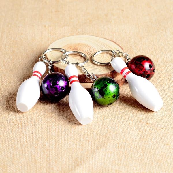 Wish   Mini bowling pin and ball keychain,bowling key ring