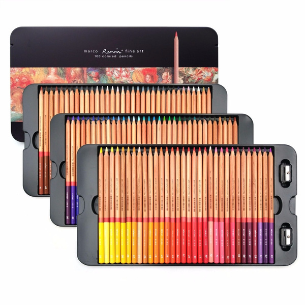 Marco Renoir 24/36/48/72/100 Colors Pencil Set Lapices De Colores Profesionales Crayons Colouring Drawing Pencils Set Wholesale by Wish