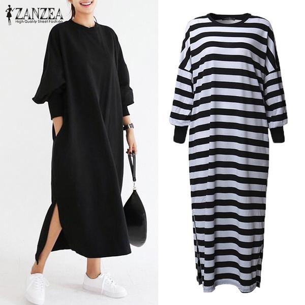 Fashion Full Women Batwing Baggy Shirt Maxi Length Long Stripe Dress