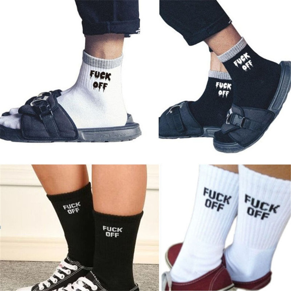 204de19f2bc99 1 Pair Fashion Full Cotton Socks Fuck Off Letters Print White Comfortable  Running Athletic Socks