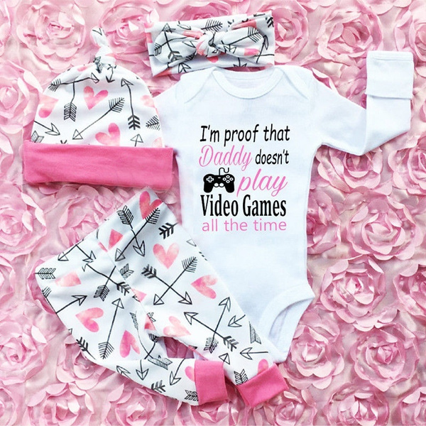 Newborn Infant Baby Girl Summer Romper Bodysuit Jumpsuit Headband Outfit Clothes