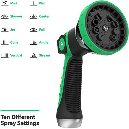 Wish | Vremi Heavy Duty Metal Garden Hose Nozzle   10 Pattern High Pressure  Thumb Control Jet Shower Sprayer For Gardening Watering Car Washing   No  Squeeze ...