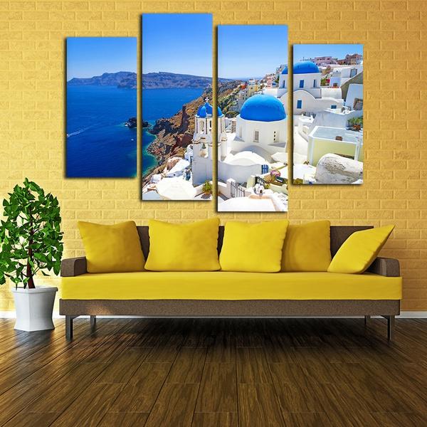 Wish | Santorini Canvas Wall Art, Living Room Wall Decor Set of 4 ...