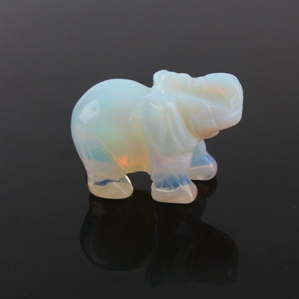 White Sri Lanka Moonstone Hand Carved Elephant Opal Gemstone Ornament 4x2.7cm