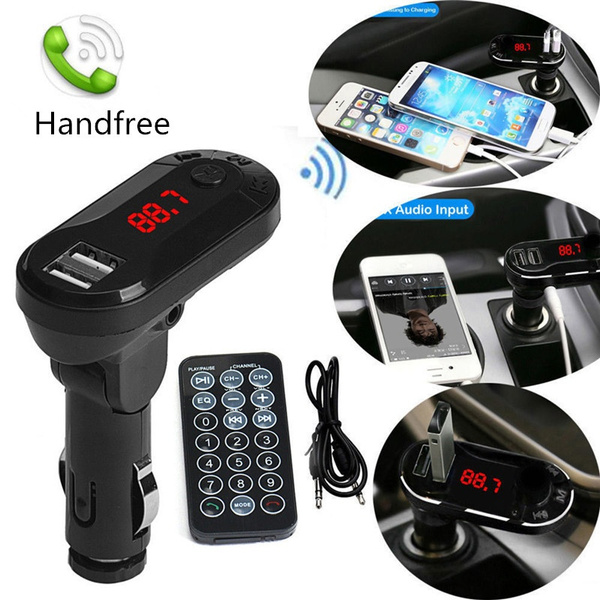 Wireless Car Kit FM Transmitter  MP3 Player Handsfree USB TF SD Remote Controlle