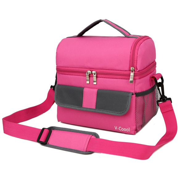 Geek Lunch Box Red Insulated Bag Large Cooler Tote For S Men Women Kids Double Deck