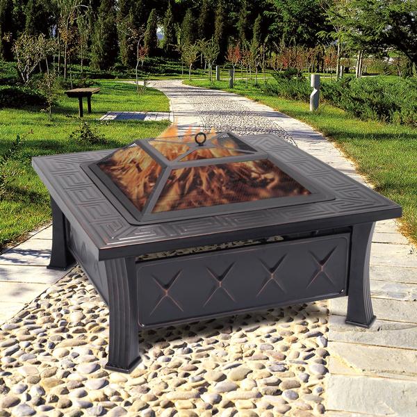 Brasero De Jardin En Acier Foyer Exterieur Barbecue Avec