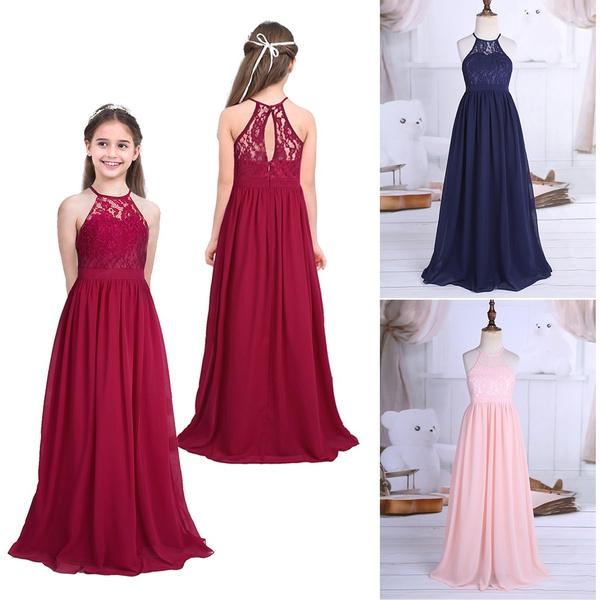 Flower Girl Dress Kids Girls Lace Chiffon Halter Neck High Waist Princess Dress For Wedding Pageant Pageant Birthday Party Wedding Party Dress